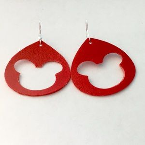 "Handmade Jewelry - 1.5"" Faux Leather Mickey Mouse Earrings"